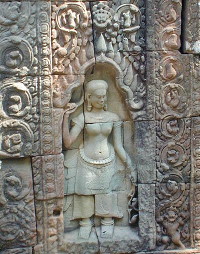 Angkor wat carvings and figures