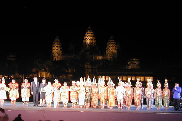 balinese and cambodian dancers take a curtain call