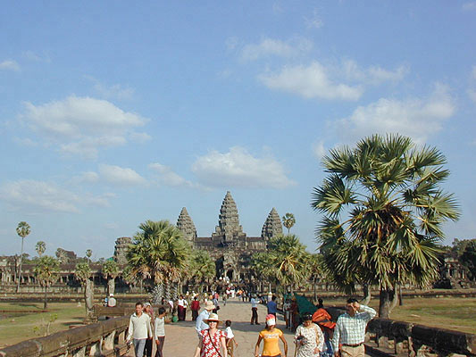 angkor wat is never without a crowd in the dry season