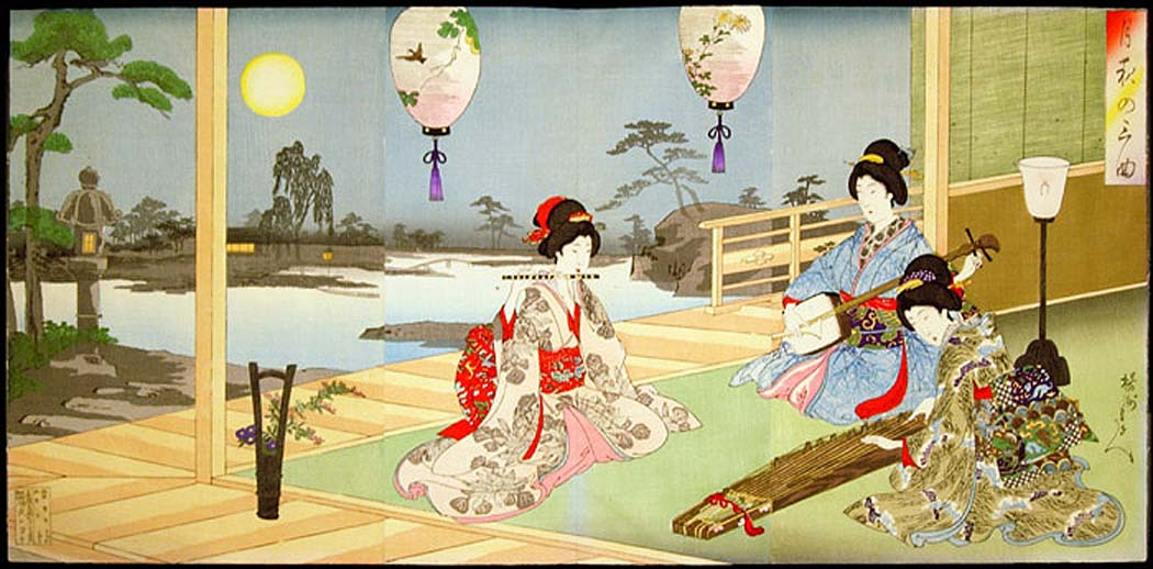 Chikanobu - Three Ladies Playing Instuments