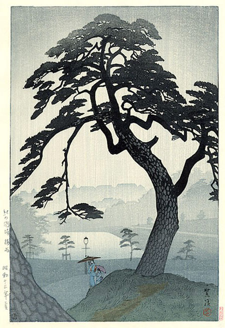 Shiro Kasamatsu - Pine Tree in Rain, Kinokunizaka, in Tokyo