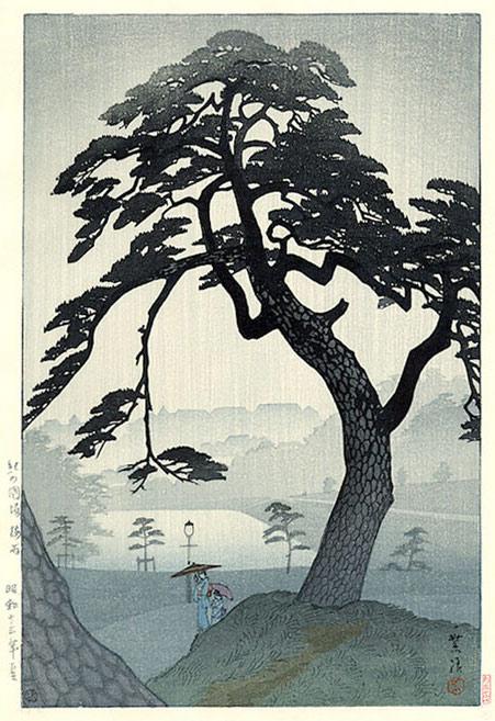 Shiro Kasamatsu - Pine Tree in Rain, Kinokunizaka, in Tokyo